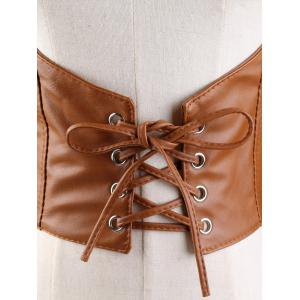 Lace Up Spaghetti Strap High Waisted Belt - BROWN