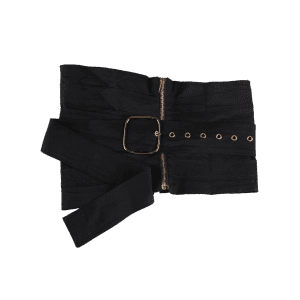 Large Pin Buckle Zip Up Detachable Corset Belt - BLACK