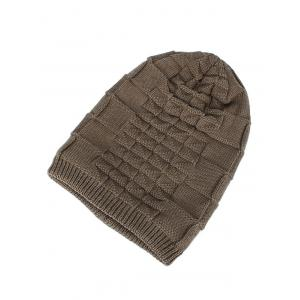 Velvet Stripy Thicken Plaid Knitted Beanie -