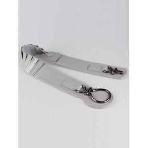 Faux Leather Wide Belt with Large Metal Clasp - GRAY