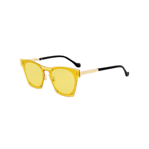 UV Protection Metal Frame Pilot Sunglasses - YELLOW