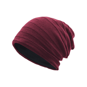 Plain Stripy Embellished Knit Hat - WINE RED