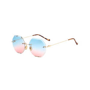 Round Hexagons Ombre Lens Rimless Sunglasses - BLUE AND PINK