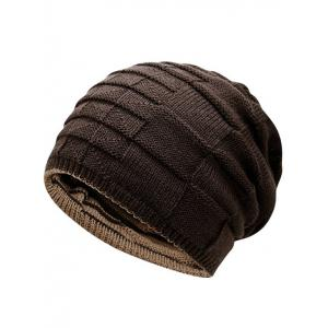 Warm Color Block Reversible Knit Hat - COFFEE
