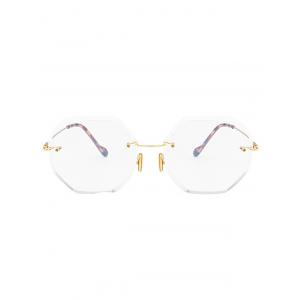 Round Hexagons Ombre Lens Rimless Sunglasses - TRANSPARENT