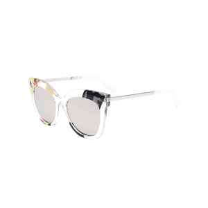 Color Pieces Embellished Butterfly Sunglasses - SILVER