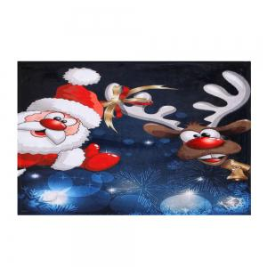 Santa Claus Christmas Deer Skidproof Area Rug - BLUE W24 INCH * L35.5 INCH