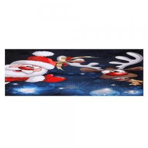 Santa Claus Christmas Deer Skidproof Area Rug - COLORMIX W16 INCH * L47 INCH