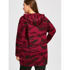 Plus Size Long High Low Camo Printed Hoodie - RED XL