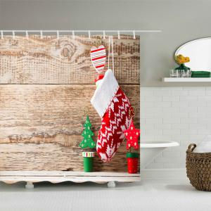 Christmas Stockings Wood Print Fabric Waterproof Bathroom Shower Curtain -