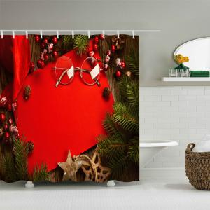 Christmas Tree Decorations Print Fabric Waterproof Bathroom Shower Curtain - RED W59 INCH * L71 INCH