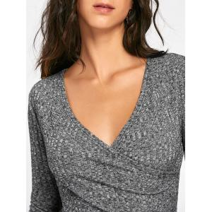 V-neck Long Sleeve Ribbed Surplice Sweater - DEEP GRAY XL