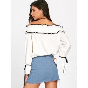 Hollow Out Ruffles Bowknot Off The Shoulder Blouse - OFF-WHITE M