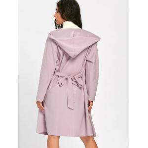 Open Front Hooded Woolen Coat - PINK L