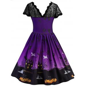 Vintage Lace Insert Halloween Dress - PURPLE 2XL