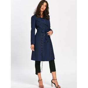 Lace Up Trench Coat with Tie Belt - PURPLISH BLUE XL
