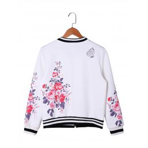 Zip Up Floral Baseball Jacket - WHITE XL