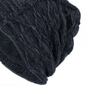 Letters Label Double-Deck Thicken Knit Hat - DEEP GRAY