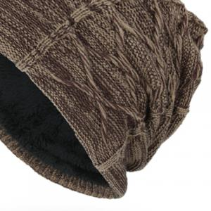 Letters Label Double-Deck Thicken Knit Hat -