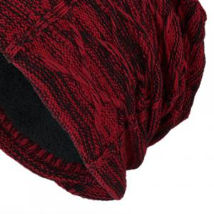 Letters Label Double-Deck Thicken Knit Hat - WINE RED