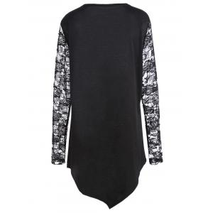 Plus Size Floral Lace Halloween Witch Asymmetrical Tee -