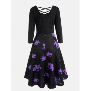 Halloween Witches Print Cross Back Flare Dress - BLACK L