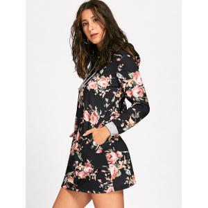 Long Sleeve Front Pocket Floral Hoodie Dress -