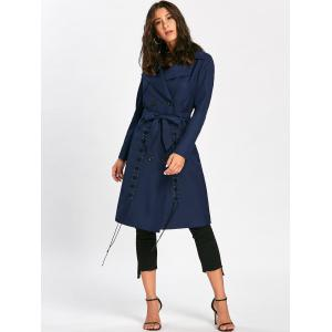 Lace Up Trench Coat with Tie Belt - PURPLISH BLUE S