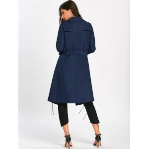 Lace Up Trench Coat with Tie Belt - PURPLISH BLUE M