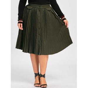 Plus Size Buttons High Waist Pleated A Line Skirt - ARMY GREEN XL