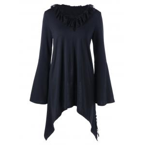 Flare Sleeve Lace Panel Asymmetric Top -