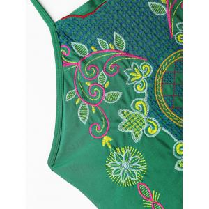 Embroiered Cross Back Plus Size Swimsuit -