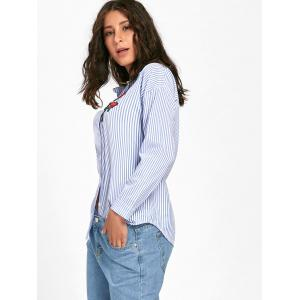 Striped High Low Embroidered Shirt -