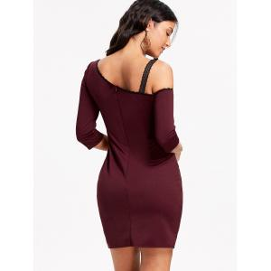 Skew Neck Lace Trim Mini Bodycon Dress -