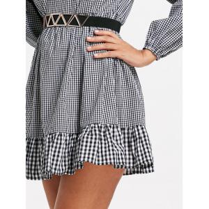 Plaid Off The Shoulder Drop Waist Dress -