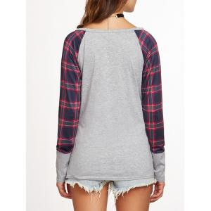 Plaid Raglan Sleeve Baseball T Shirt -