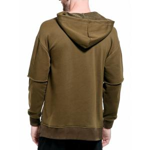 Drop Shoulder Panel Long Sleeve Embroidered Hoodie -