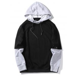 Graphic Print Color Block Pullover Hoodie -