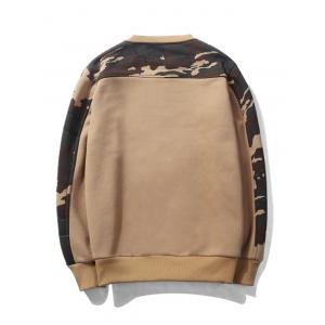 Camouflage Panel Fleece Pullover Sweatshirt -