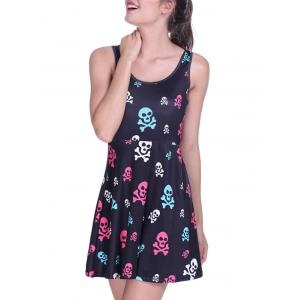 Halloween Skulls Print Short Dress -