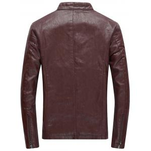 Faux Leather Zip Up Fleece Jacket -