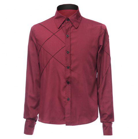 New Fashion Shirt Collar Slimming Checked Sutures Design Long Sleeve Polyester Shirt For Men