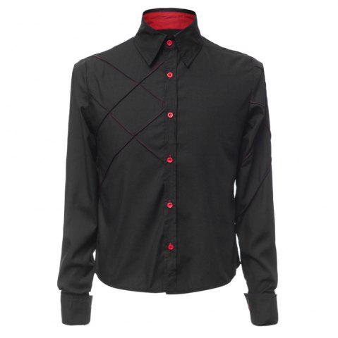 Discount Fashion Shirt Collar Slimming Checked Sutures Design Long Sleeve Polyester Shirt For Men