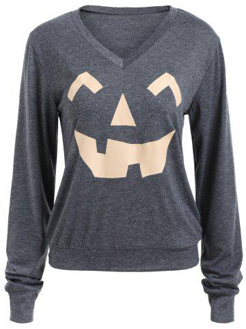 Sweat-shirt Halloween Imprimé Citrouille Col en V