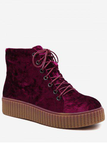 Discount Lace Up Faux Suede Ankle Boots WINE RED 39