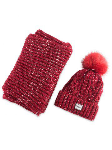 Online Hemp Flower Knit Pom Hat with Scarf - RED  Mobile