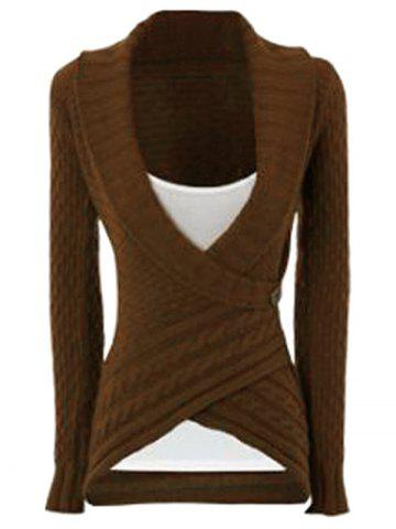 Latest Chic Turn-Down Neck Long Sleeve Asymmetrical Women's Sweater DARK KHAKI M