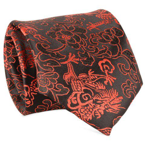 Fancy 8CM Width Floral Printed Faux Silk Neck Tie BLACK RED