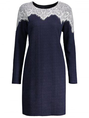 Hot Lace Trim Plus Size Long Sleeve Dress