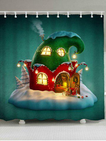 Discount Waterproof Christmas Cartoon House Bath Curtain - W59 INCH * L71 INCH GREEN Mobile